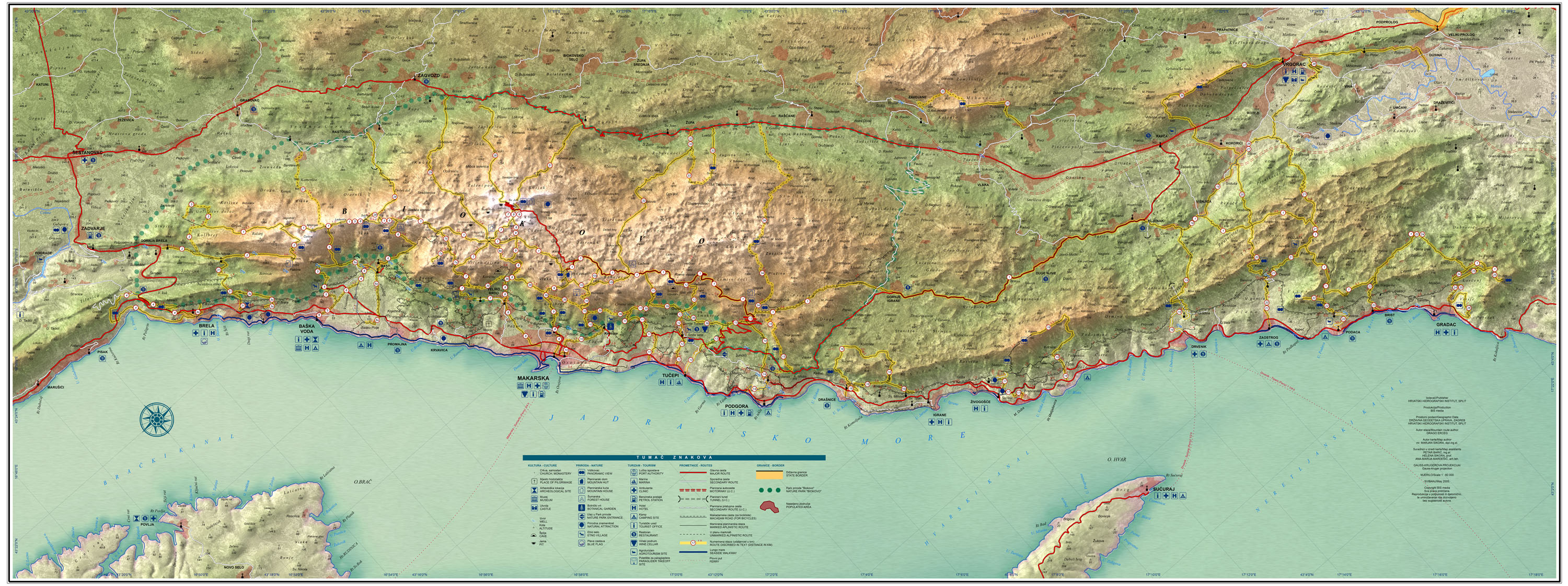 karta makarske Map of Makarska Riviera and Biokovo karta makarske